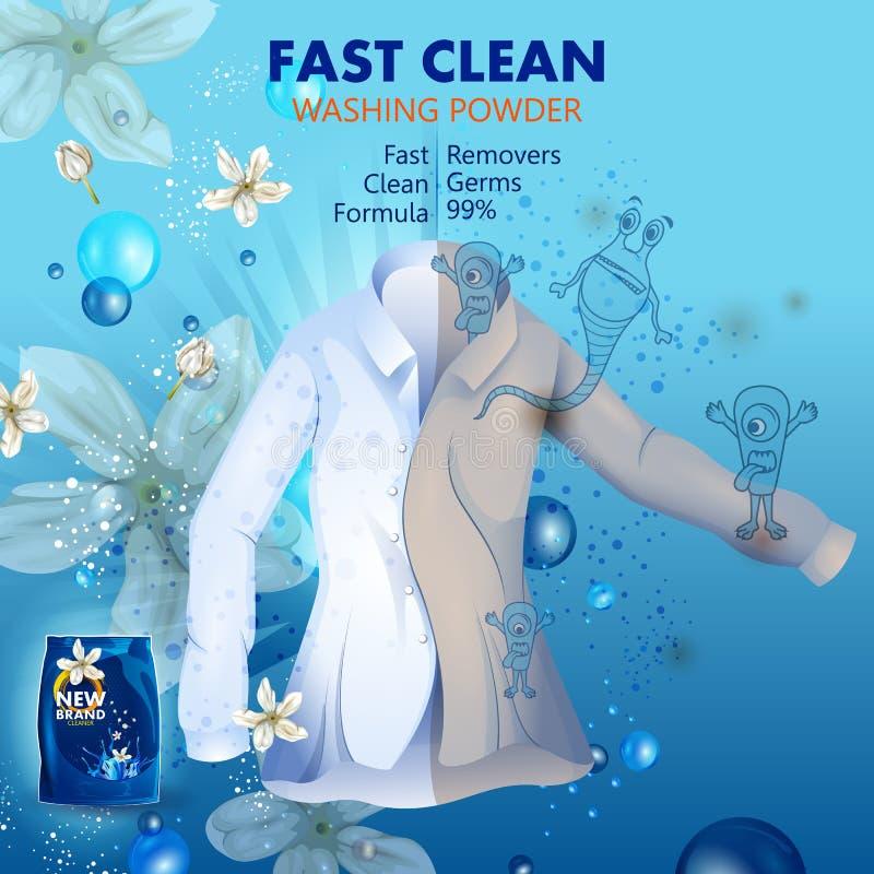 A bandeira da propaganda do removedor da mancha e da sujeira pulveriza o detergente para a roupa para o pano limpo e fresco ilustração royalty free