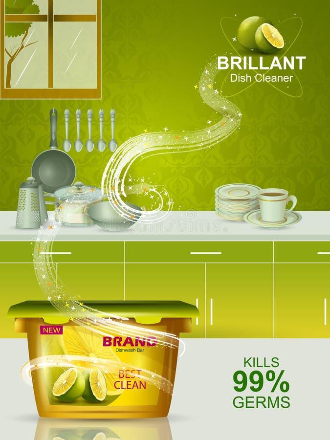 Bandeira da propaganda da máquina de lavar louça resistente do removedor de mancha para o utensílio limpo e fresco ilustração do vetor