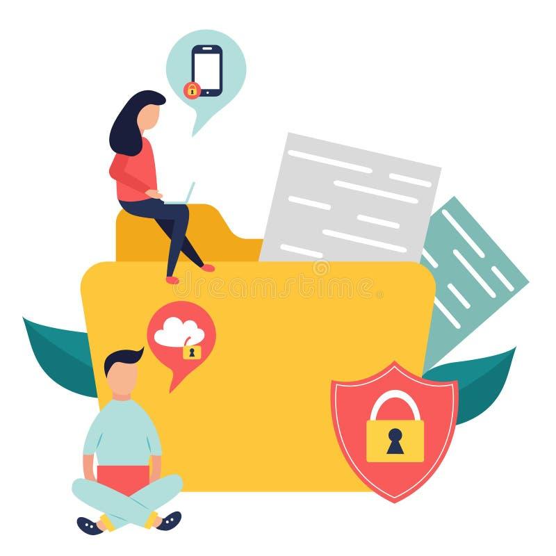 Bandeira da proteção de dados com arquivos de informação fechados ilustração stock