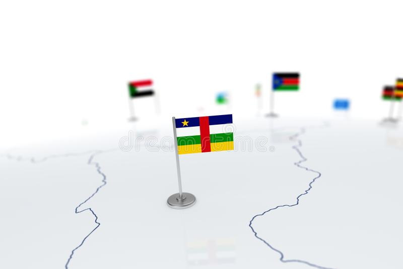 Bandeira da república de África central ilustração stock