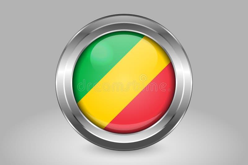 Bandeira da Rep?blica Democr?tica do Congo Metal e ?cone redondo de vidro do vetor Isolado ilustração stock