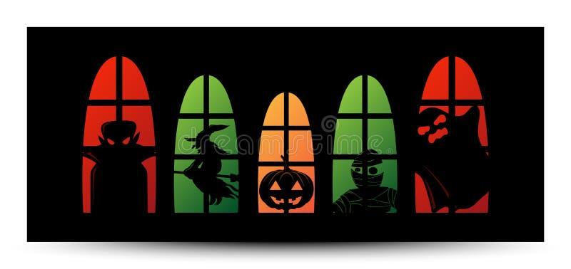 Bandeira da silhueta da janela de Dia das Bruxas ilustração stock