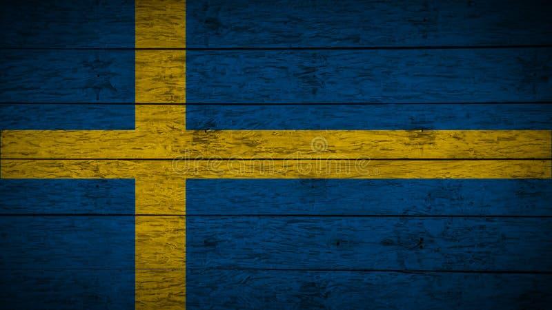 Bandeira da Suécia pintada em placas de madeira idosas Bandeira de madeira da Su?cia Fundo abstrato da bandeira bandeira sueco do fotos de stock