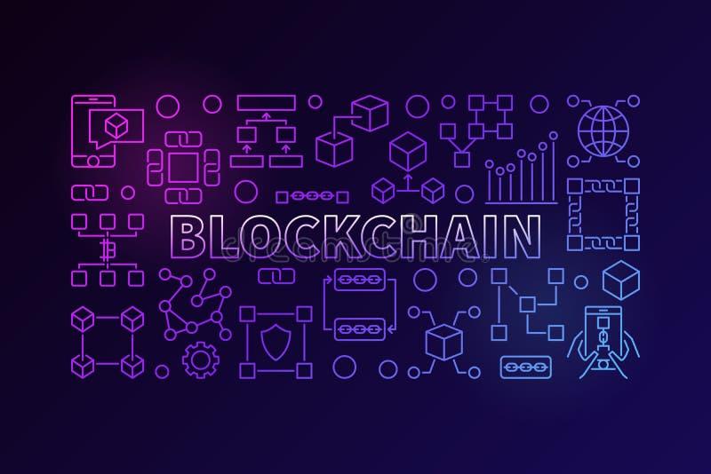 Bandeira da tecnologia feita com linha chain ícones de bloco ilustração stock