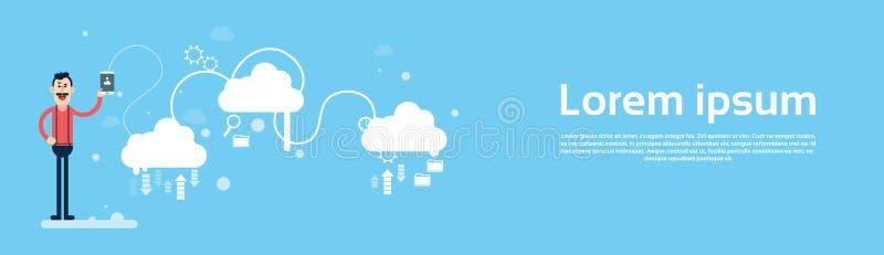 Bandeira da tecnologia informática da nuvem dos dados da parte da tabuleta da posse do homem de negócio ilustração royalty free