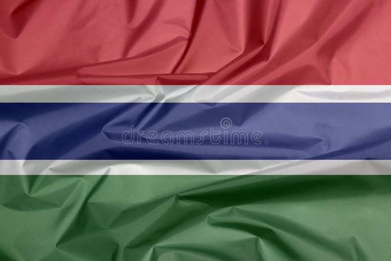 Bandeira da tela de Gâmbia Vinco do fundo gambiano da bandeira ilustração stock