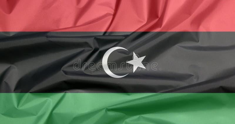 Bandeira da tela de Líbia Vinco do fundo líbio da bandeira foto de stock royalty free