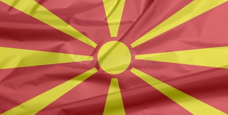 Bandeira da tela de Macedônia Vinco do fundo macedônio da bandeira ilustração royalty free