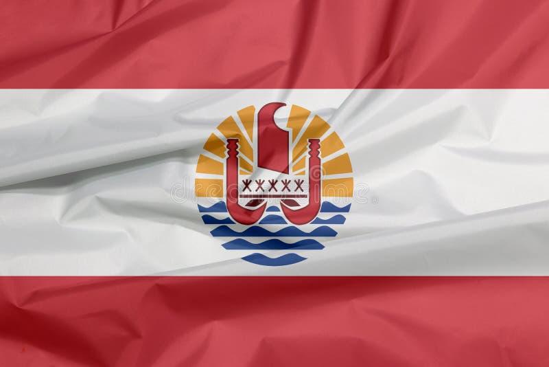 Bandeira da tela de Polinésia francesa Vinco do fundo da bandeira de Polinésia francesa fotografia de stock