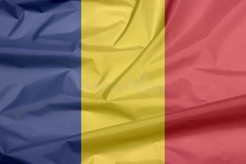 Bandeira da tela de Romênia Vinco do fundo romeno da bandeira ilustração stock