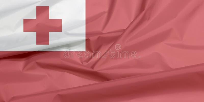 Bandeira da tela de Tonga Vinco do fundo tonganês da bandeira foto de stock