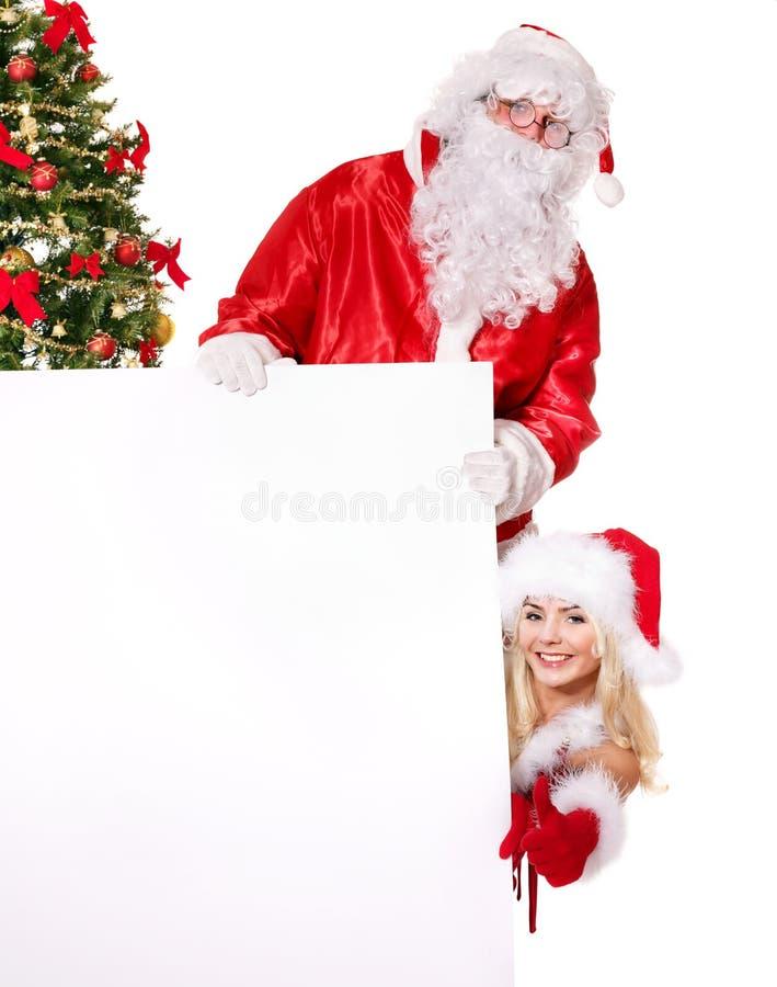 Bandeira da terra arrendada de Papai Noel e de menina. fotografia de stock