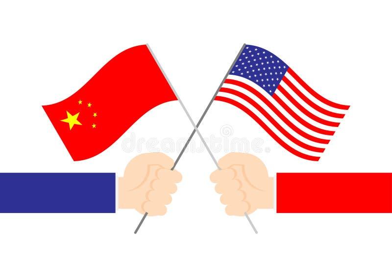 Bandeira da terra arrendada da verificação da mão do negócio ilustração do projeto de conceito da crise de América e de China, de ilustração do vetor