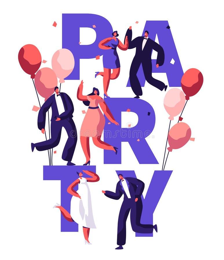 Bandeira da tipografia do aniversário do dance party ilustração do vetor