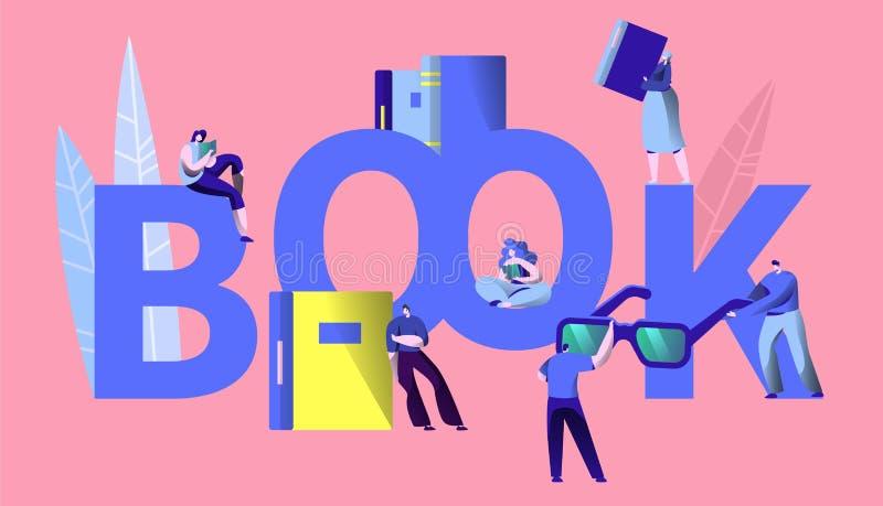 Bandeira da tipografia do conceito de Read Book Learning do estudante Enciclopédia do estudo do caráter dos povos na livraria Con ilustração stock