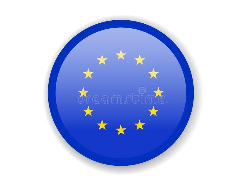 Bandeira da União Europeia Ícone brilhante redondo em um fundo branco ilustração do vetor