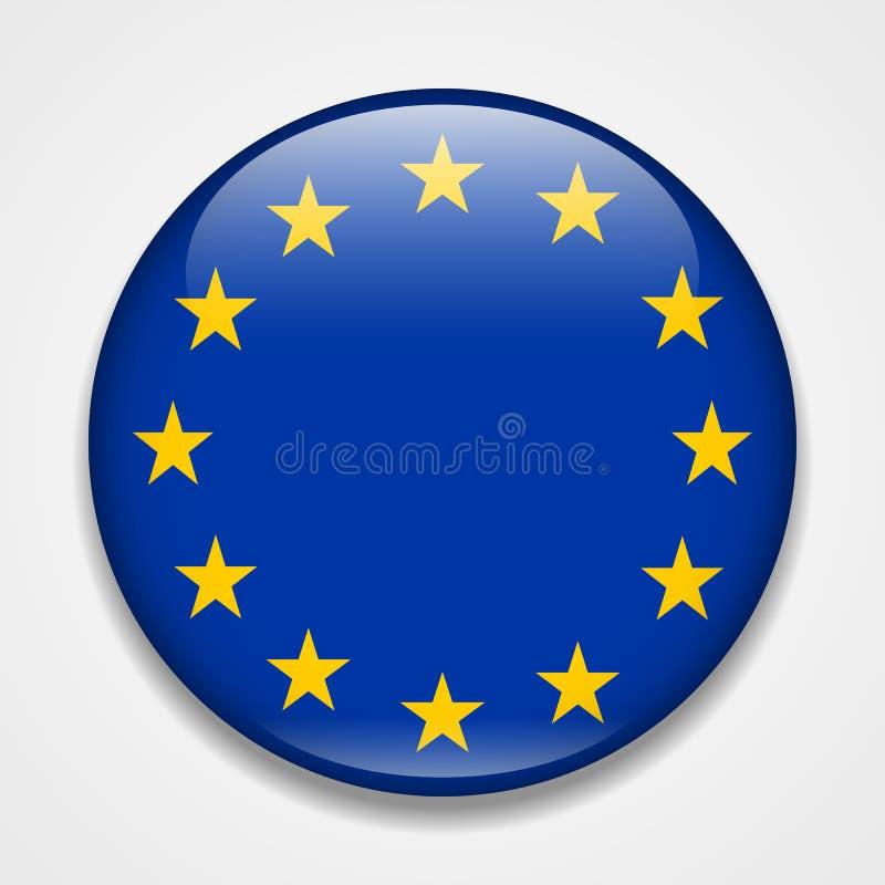 Bandeira da União Europeia Crachá lustroso redondo ilustração stock