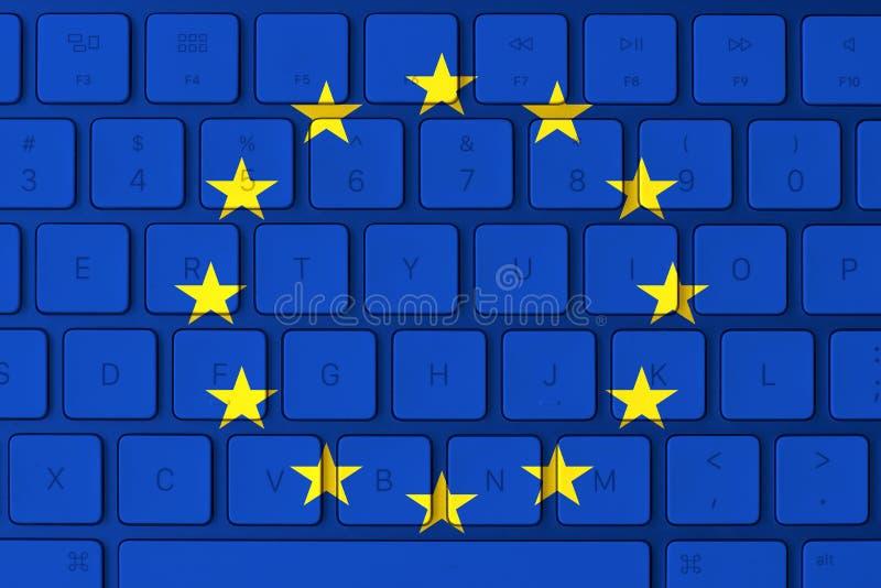 Bandeira da União Europeia e teclado de computador no fundo fotografia de stock