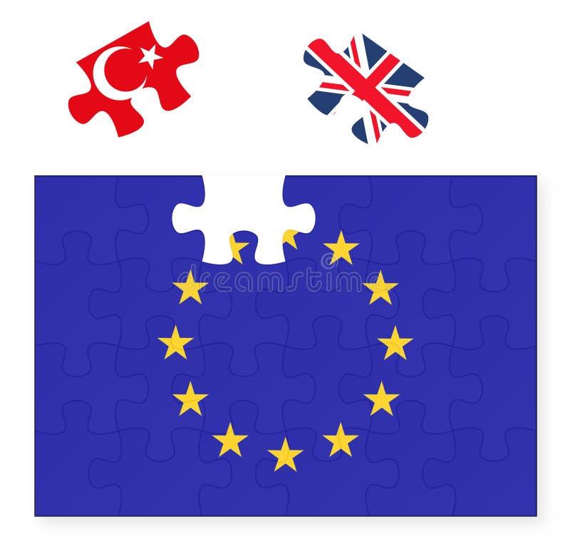 Bandeira da União Europeia que falta a parte do enigma de serra de vaivém de Reino Unido Grâ Bretanha, Brexit, por do sol da UE,  ilustração do vetor