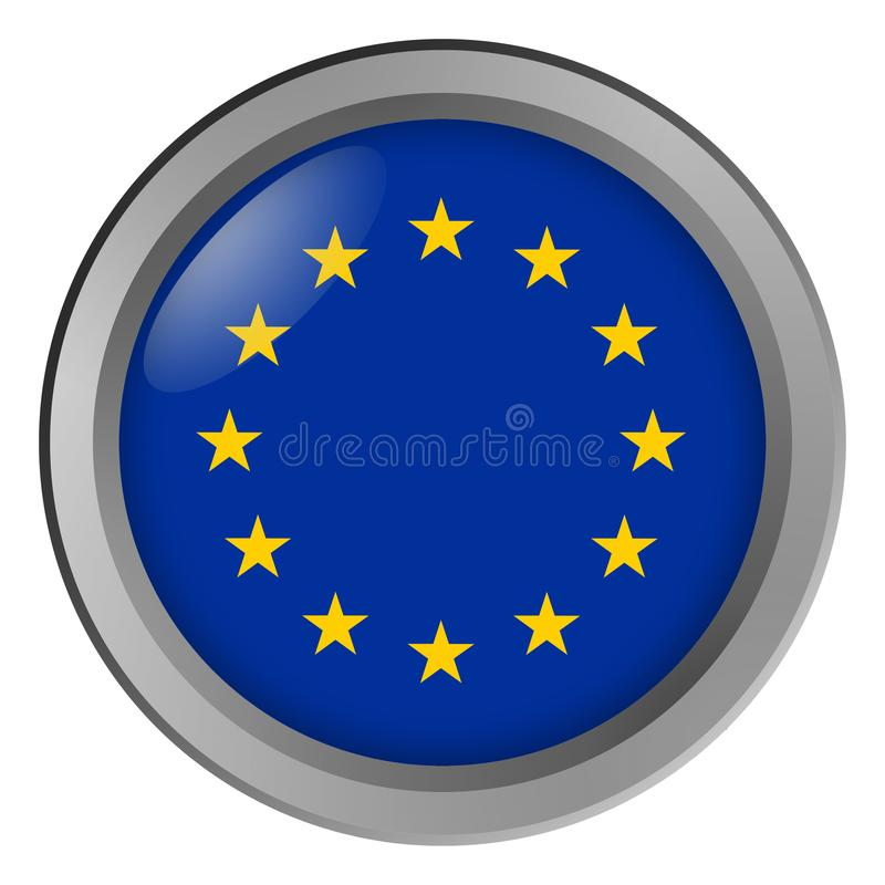 Bandeira da União Europeia redonda como um botão ilustração stock