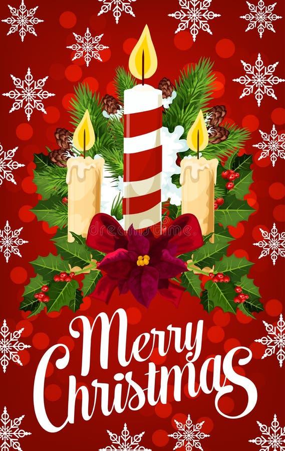 Bandeira da vela do Natal com floco de neve, luz do Xmas ilustração stock