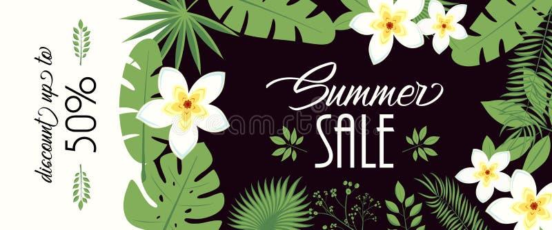 Bandeira da venda, cartaz com folhas de palmeira, folha da selva e rotulação da escrita Fundo tropical floral do verão Vetor ilustração royalty free