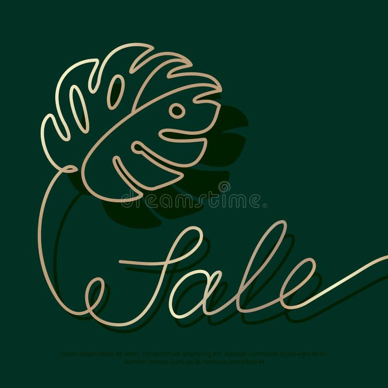 Bandeira da venda com a folha tropical verde do monstera no escuro - fundo verde Rotulação do ouro no cartaz do verão ilustração royalty free