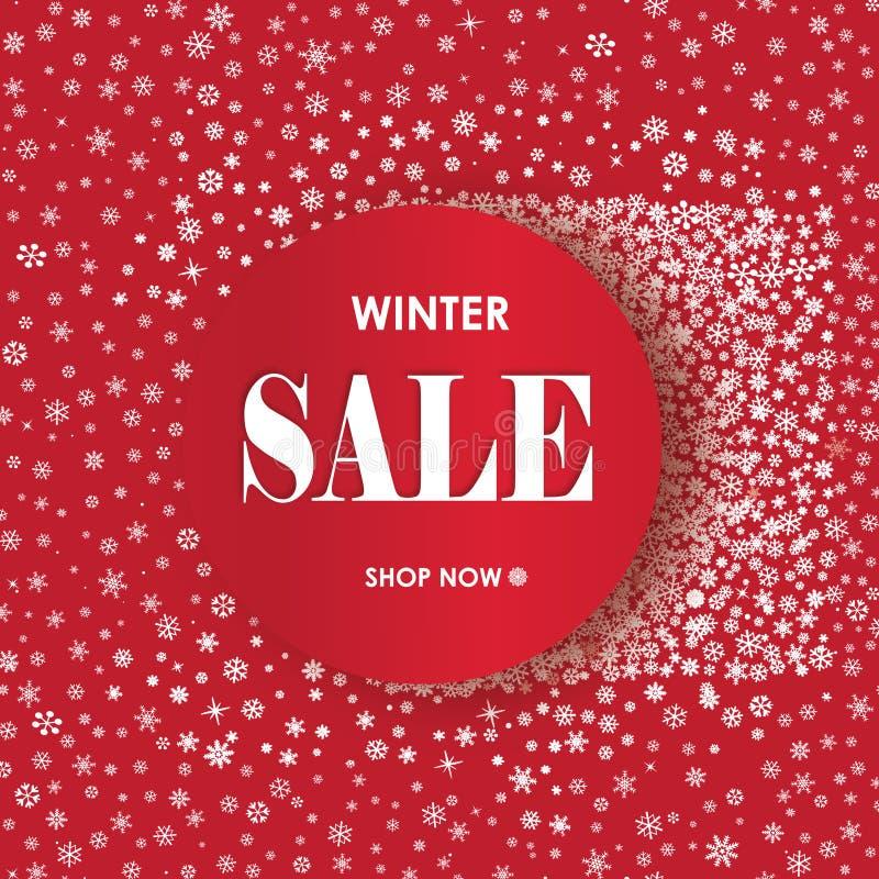 Bandeira da venda da compra do inverno com rotulação Backgroun do quadro da neve ilustração stock