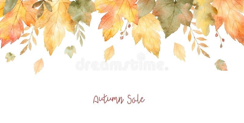 Bandeira da venda da aquarela das folhas e dos ramos isolados no fundo branco ilustração royalty free