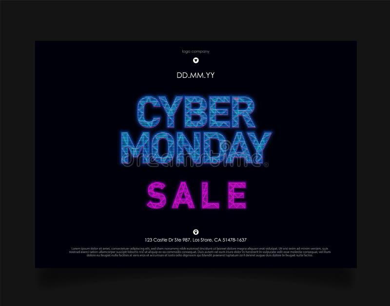 Bandeira da venda de segunda-feira do Cyber no estilo futurista de HUD do holograma no fundo escuro com luzes azuis Projeto para  ilustração royalty free