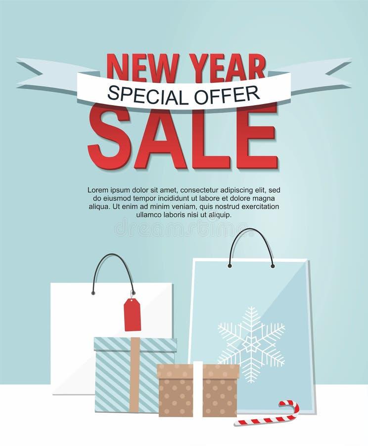 Bandeira da venda do ano novo com as caixas de presente e os sacos de compras isolados no fundo azul ilustração royalty free