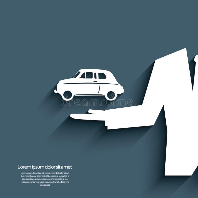 Bandeira da venda do carro com símbolo e homem de negócios do carro ilustração do vetor