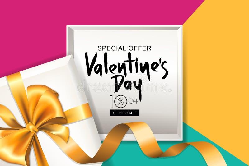 Bandeira da venda do dia de Valentim Caixa de presente com fita dourada Projete para o inseto, cartaz, convite do partido Ilustra ilustração royalty free