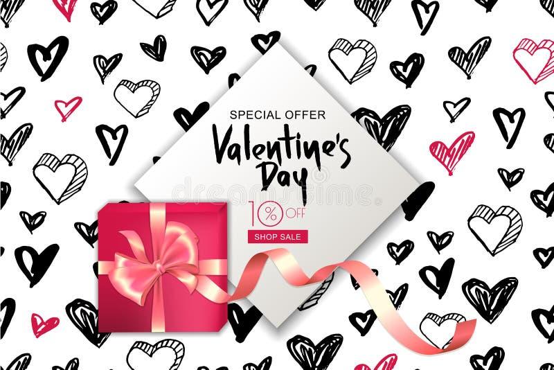 Bandeira da venda do dia de Valentim Caixa de presente do vetor com a fita no fundo dos corações Projeto para o inseto, cartaz, c ilustração royalty free