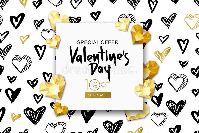 Bandeira da venda do dia de Valentim Coração da gema do ouro do vetor no fundo da aquarela Projete para o inseto, cartaz, convite ilustração do vetor