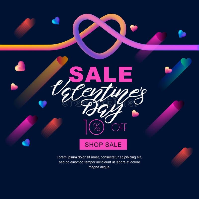 Bandeira da venda do dia de Valentim coração líquido e rotulação do inclinação 3d colorido no fundo preto ilustração royalty free
