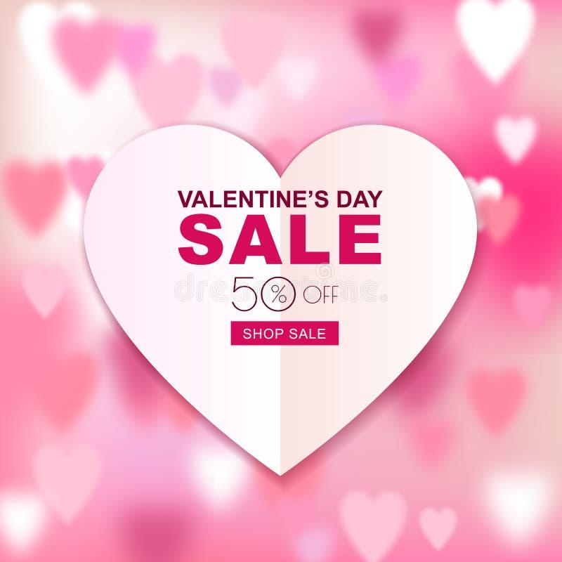 Bandeira da venda do dia de Valentim Fundo borrado do amor com coração de papel ilustração royalty free