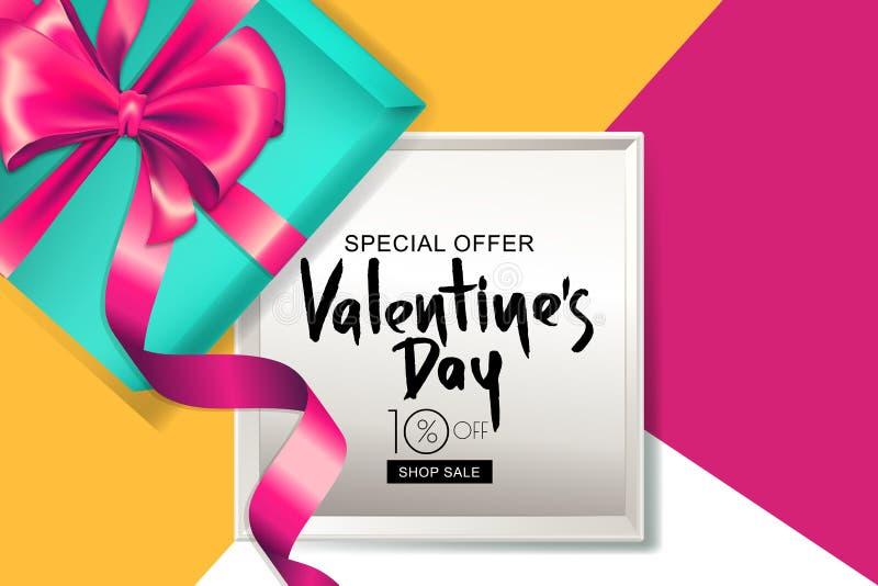Bandeira da venda do dia de Valentim quadro de caixa de presente 3d com fita cor-de-rosa Projeto para o inseto do feriado, cartaz ilustração royalty free