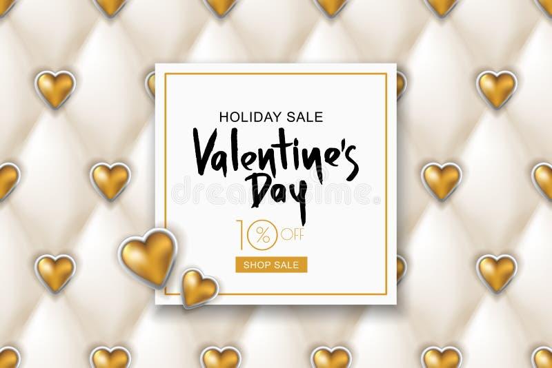 Bandeira da venda do dia de Valentim Textura do couro branco do vetor e corações dourados Projete para o cartaz, cartão, convite  ilustração stock