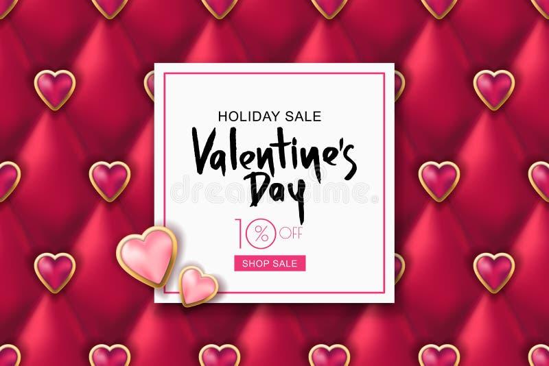 Bandeira da venda do dia de Valentim Textura de couro vermelha do vetor e corações cor-de-rosa Projete para o cartaz, cartão, con ilustração royalty free