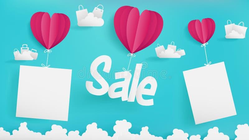 Bandeira da venda do dia do ` s do Valentim que flutua no ar com projeto de papel da arte ilustração stock