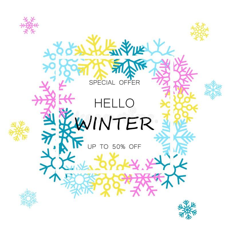Bandeira da venda do inverno com flocos de neve coloridos ilustração stock