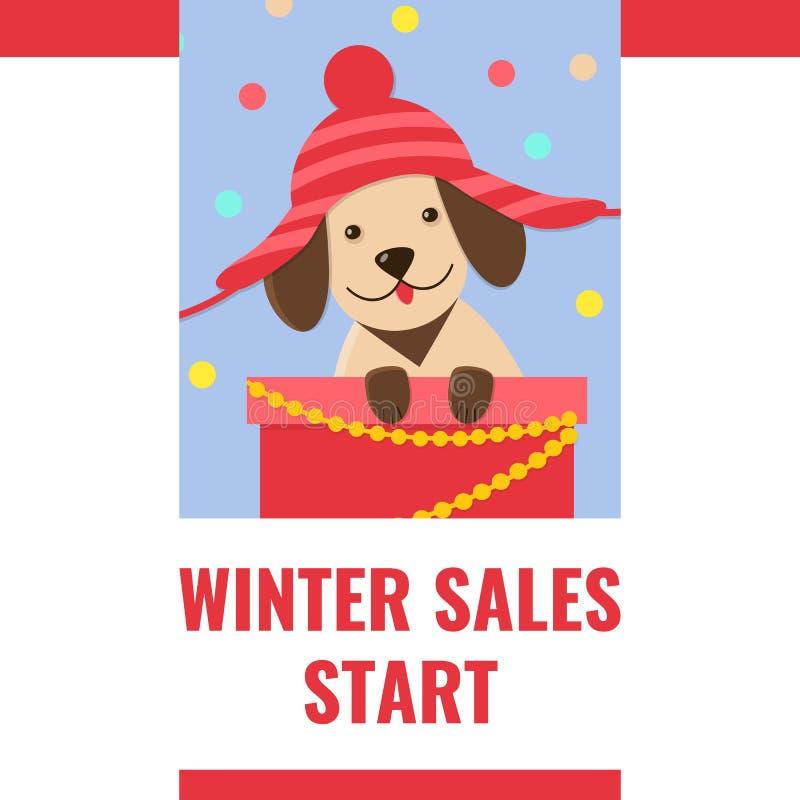 Bandeira da venda do inverno com o cachorrinho bonito no chapéu engraçado ilustração do vetor