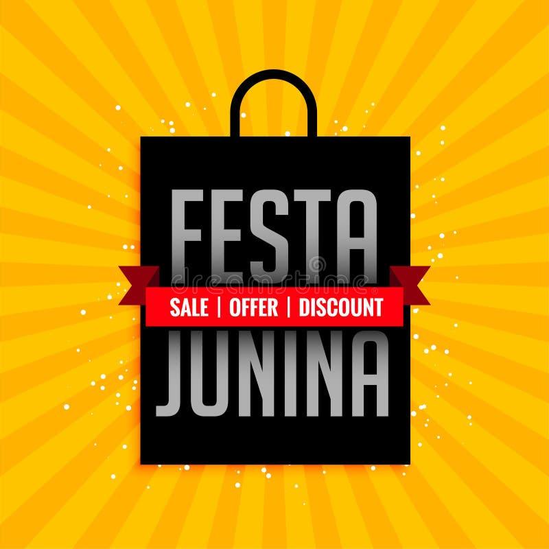 Bandeira da venda do junina de Festa com projeto do saco de compras ilustração do vetor