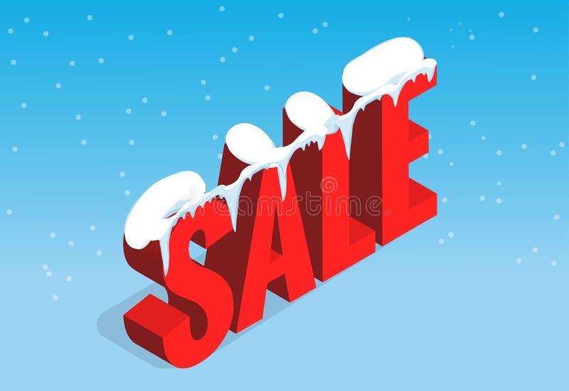 Bandeira da venda do Natal do inverno, ilustração do vetor Conceito da compra do inverno Comprando, oferta, fundo do disconto ilustração stock
