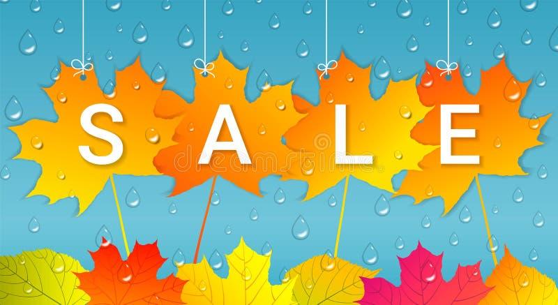 Bandeira da venda do outono com folhas e os pingos de chuva coloridos ilustração do vetor