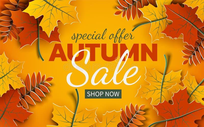 A bandeira da venda do outono 3d, a árvore colorida de papel sae no fundo amarelo Projeto outonal para a bandeira da venda do out ilustração do vetor