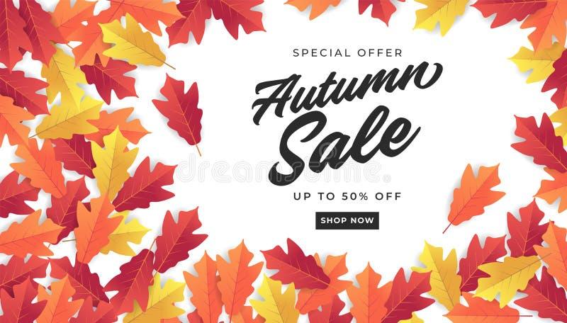 Bandeira da venda do outono para a venda de compra Fundo colorido das folhas de outono ilustração do vetor