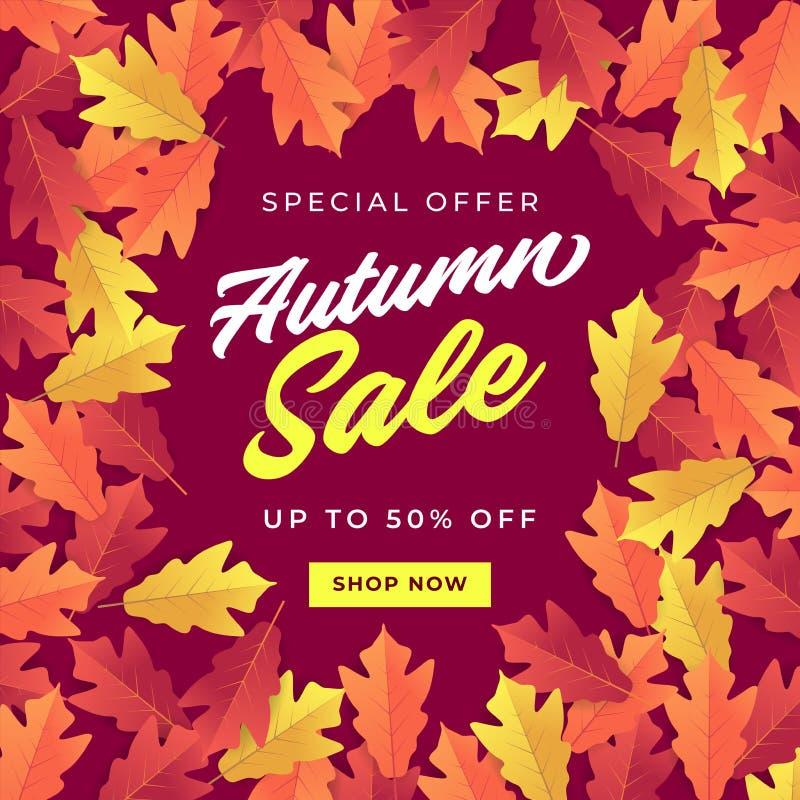 Bandeira da venda do outono para a venda de compra Fundo colorido das folhas de outono ilustração stock