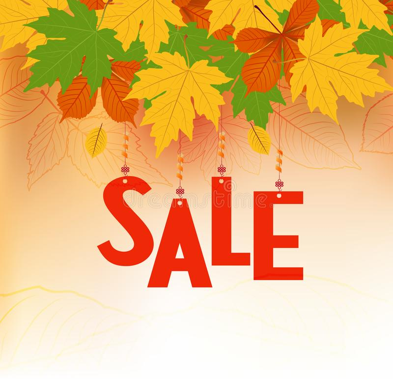 Bandeira da venda do outono Texto da venda na cor vermelha que pendura com as folhas de outono coloridas ilustração royalty free